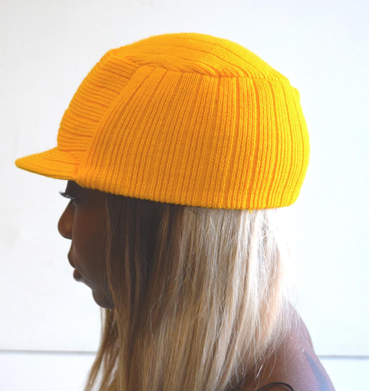 730f18b09f328 Yellow Knit Hat with Visor