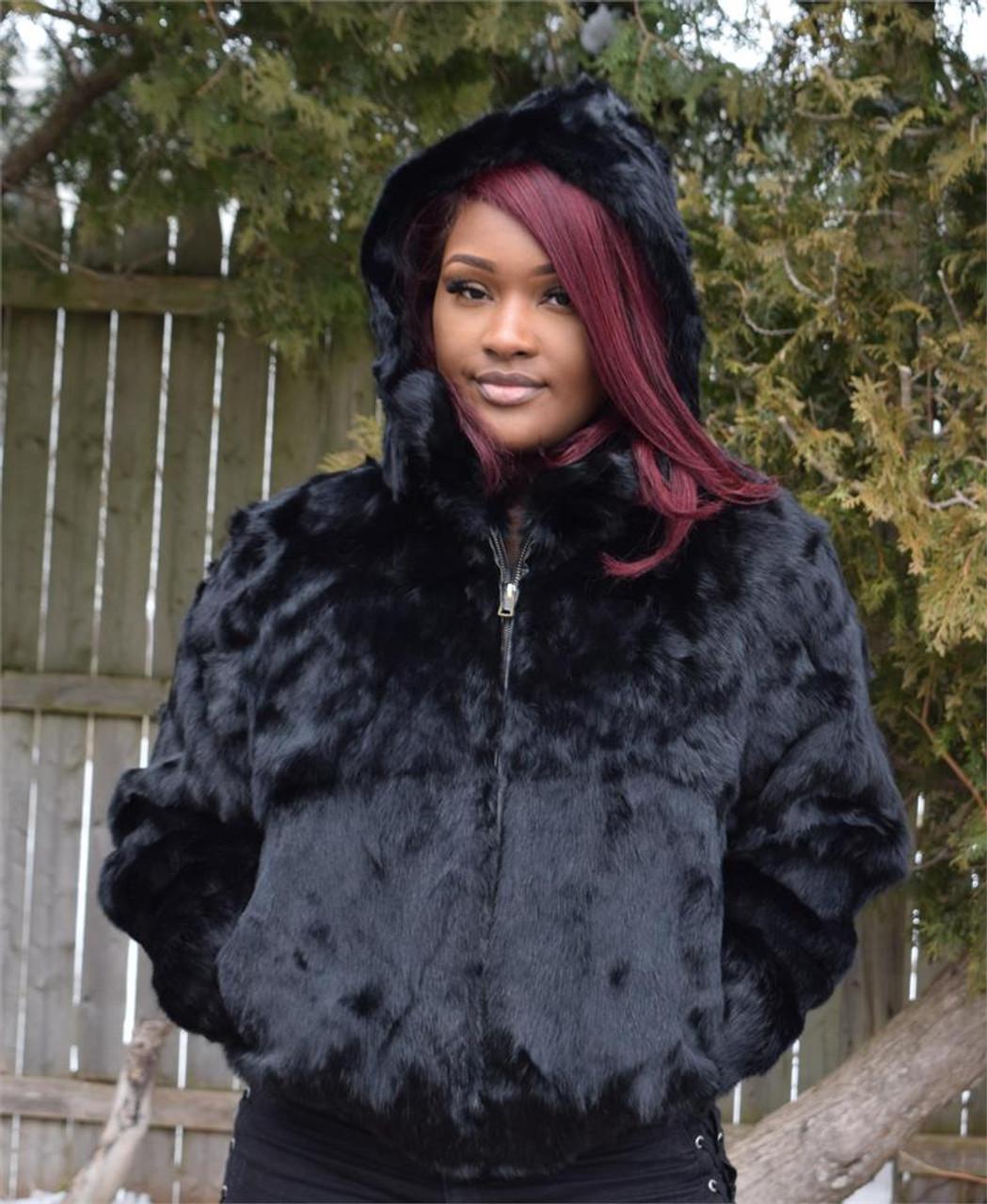 a40a3f24c Ladies Black Rabbit Bomber Fur Jacket