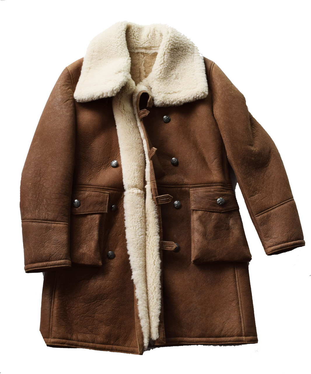 d0c67d23788 Brown Toggle Hook Trench Sheepskin Coat
