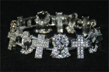 Cross Prayer Hands and Jesus Silver Bracelet