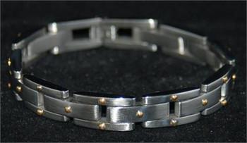 Italian Design Stainless Steel Gold Dots Mens Bracelet