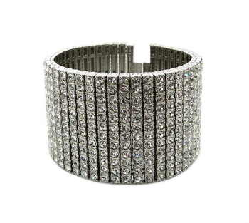 Silver All Ice Bracelet Cuff