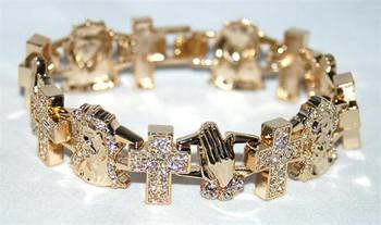 Cross Prayer Hands and Jesus Gold Bracelet