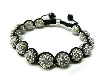 White Stoned Glass Bead Bracelet-1