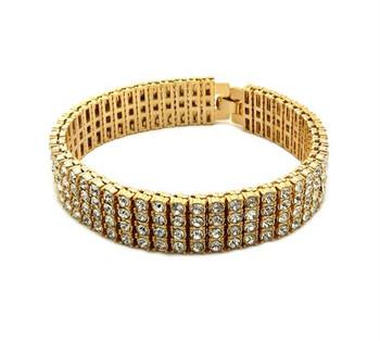 Four Strand Gold All Ice Bracelet