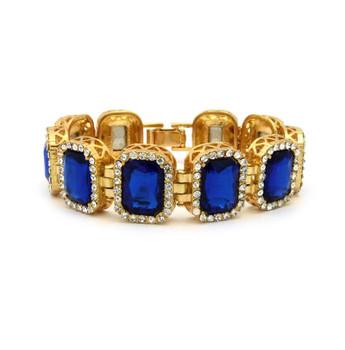 Blue Royalty Gold Stoned Bracelet