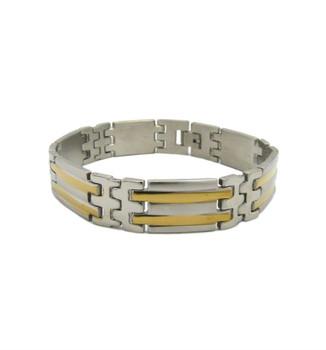 Stainless Steel Bars Two Tone Bracelet