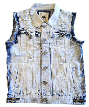 Acid Washed Back Ripped Moto Vest