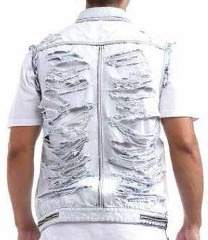 Acid Washed Back Ripped Moto Vest