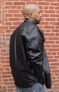 Black Leather Shirt with Alligator Trim