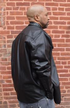 Black Leather Shirt with Alligator Trim