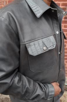 Gray Leather Shirt with Alligator Trim