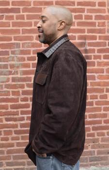 Brown Suede Shirt with Alligator trim