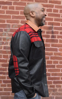 Black Leather Shirt with Plaid trim