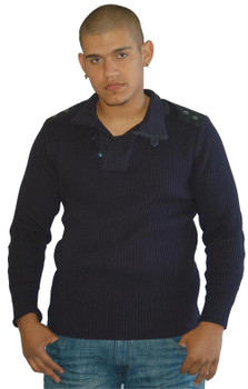 Epic Hero Navy Ribbed Cotton Sweater