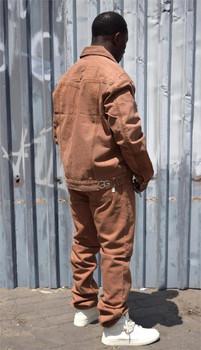 G Gator Mens Tan Denim Jean Suit