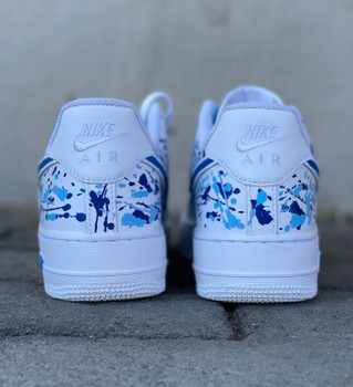 REMIXDAKICKZ Blue Splash Custom Painted Air Force One Sneakers