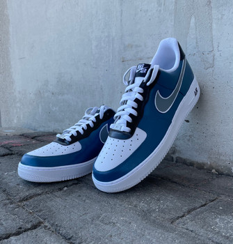 REMIXDAKICKZ Blue Gray Silver Custom Painted AF1 Sneakers