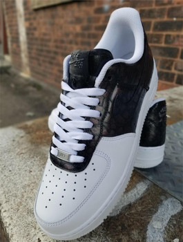 Remixdakicks Black and White Croc Custom Air Force Ones Sneakers