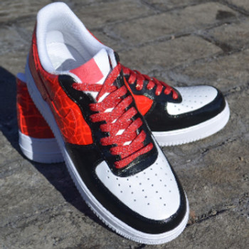 REMIXDAKICKZ Red Half Croc Custom Painted AF1 Sneakers