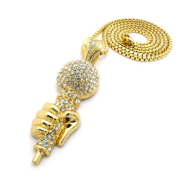 Gold Icey Mic in Hand Pendant and Chain