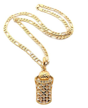 Icy Gold Basketball in Hoop Chain