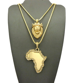 Lion and Africa Map Gold Chain Set