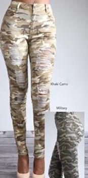 Khaki Camo Ripped Ladies Jeans