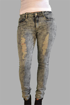 Stone Washed Ripped Ladies Jeans