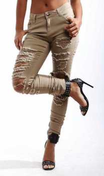 Missy Twill Skinny Ripped Colored Jeans