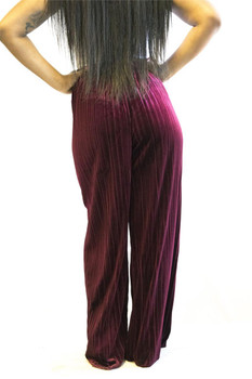 Burgandy Wide Leg Velour Pants
