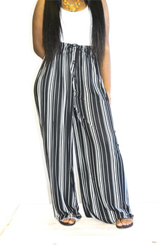 Black White Wide Leg Pants
