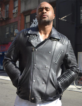 Black Leather Ribbed Arm Motorcycle Jacket