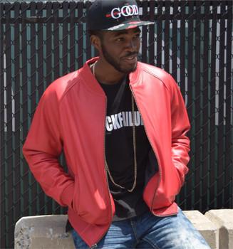Red Leather Baseball Jacket