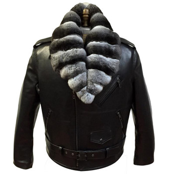 Jakewood G Gator Motorcycle jacket with chinchilla collar