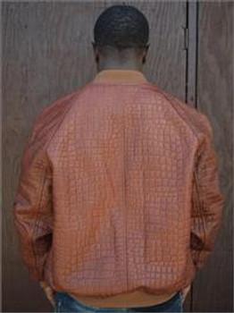 Brown Alligator Embossed Leather Baseball Jacket