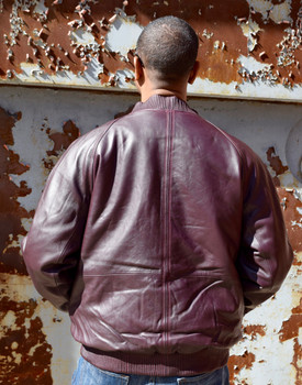 Deep Burgandy Butter Soft Baseball Leather Jacket