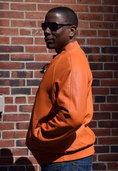 Orange Butter Soft Leather Baseball Jacket