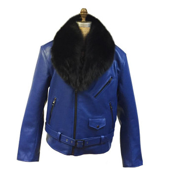 G Gator Blue/ Black Fox Fur Collar Leather Motorcycle Jacket