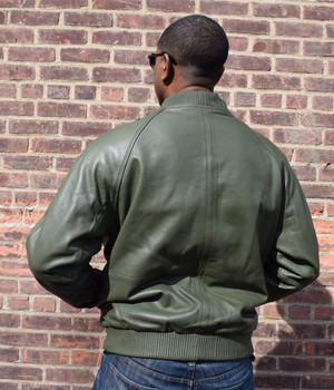 Army Green Butter Soft Leather Baseball Jacket