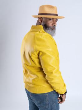 Yellow Butter Soft Baseball Leather Jacket