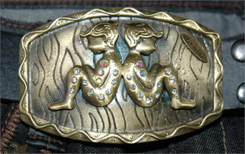 Brass Gemini Belt Buckle