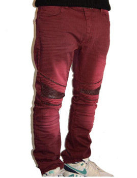 Mens Burgandy Washed Moto Jeans (view)