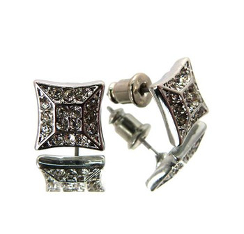 Silver 3d Fancy Square Earrings