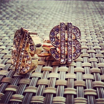 Icy Gold Tone Money Sign Hip-Hop Earrings