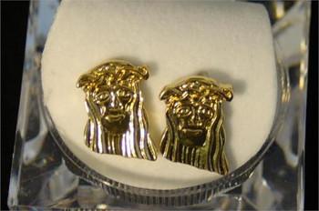 Jesus Carved Gold Tone Earrings