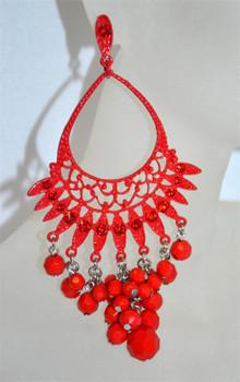Red Drop Chandelier Earrings