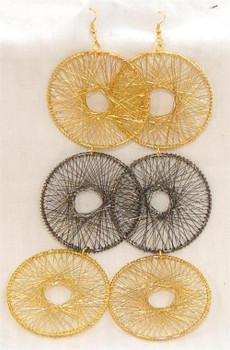 Gold and Hematite 3 Hoop Design Earrings