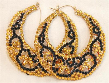 Gold and Black Half A Moon Studded Earrings