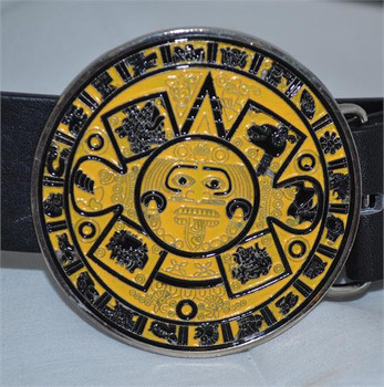 Yellow Mayan Circle Belt Buckle